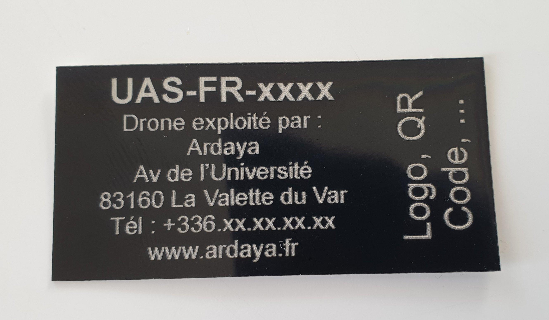 Exemple Étiquette de drone personnalisée